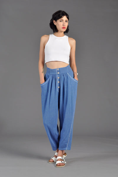 80s Button Front Relaxed Fit Knit Trousers
