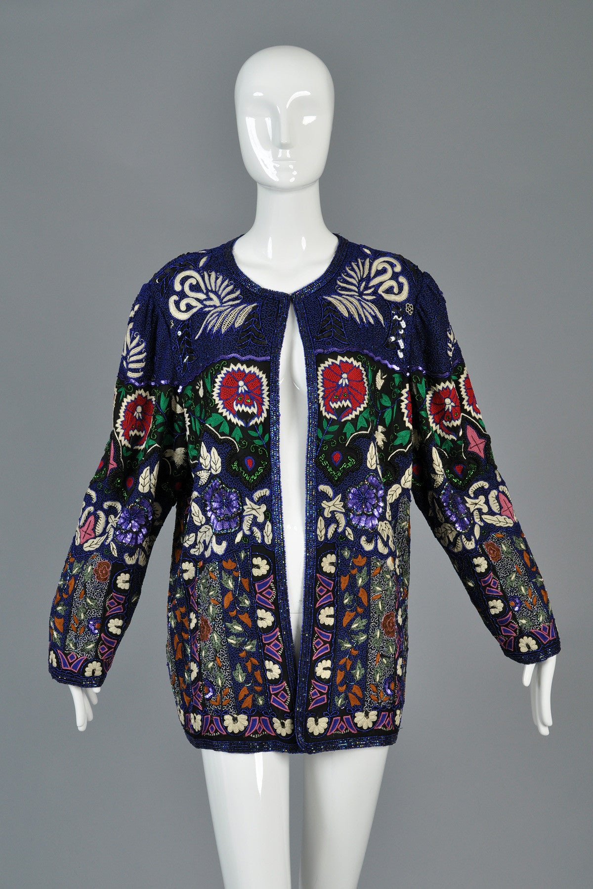 Embroidered Beaded Art Nouveau Inspired Silk Jacket
