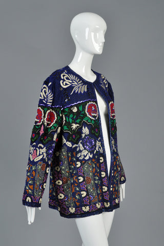 Embroidered + Beaded Art Nouveau Inspired Silk Jacket