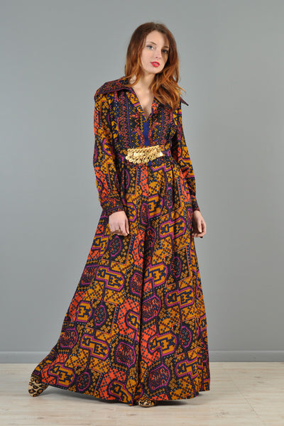 Kilim Printed 1970s Palazzo Jumpsuit with Coin Belt