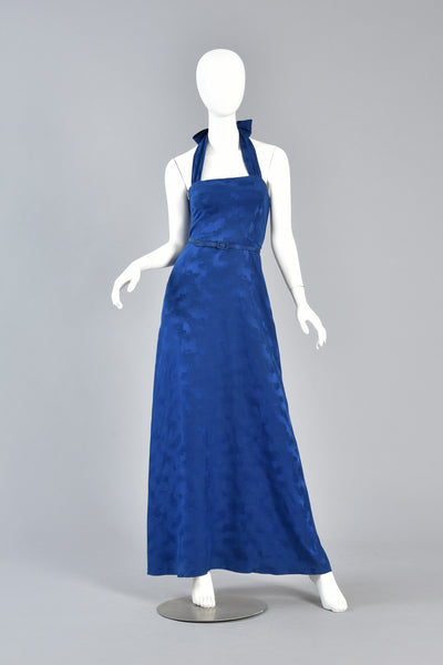 Lovely Lapis Blue Silk Gown w/Halter Neckline