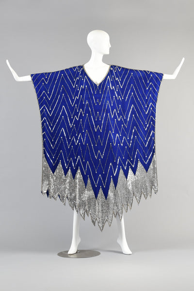 Art Deco Inspired Lapis + Silver Sequined Silk Caftan