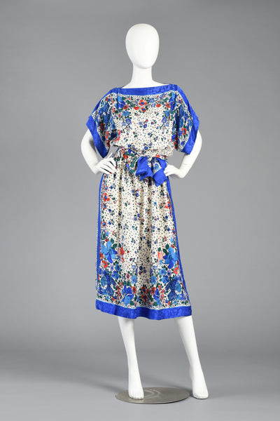 80s Bluebirds + Flowers Kimono Sleeved Silk Scarf Dress