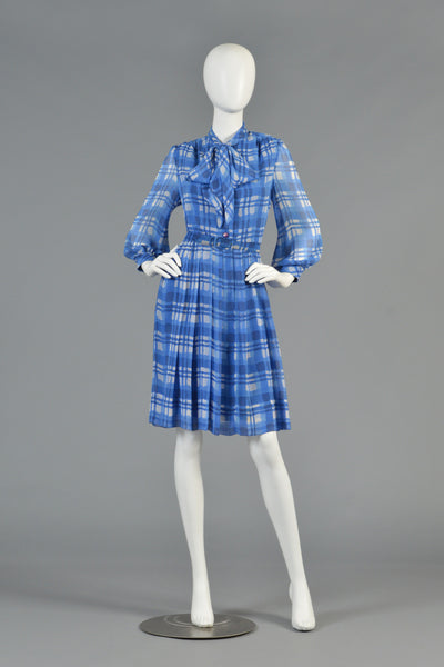 Baron Peters 1960s Plaid Silk Dress with Ascot