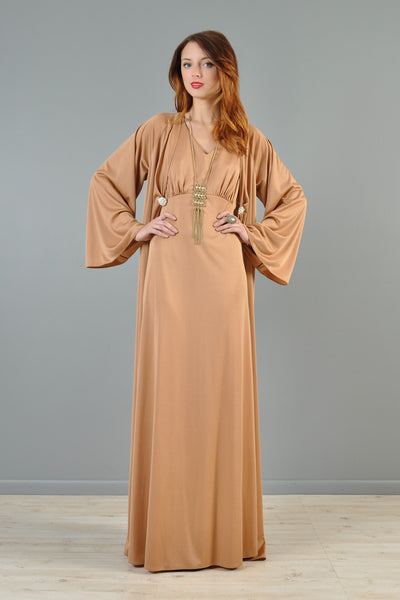 Draped 1970s Maxi Dress + Jacket with Jeweled Closure