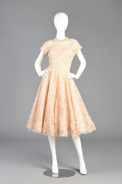50s Sheer Illusion Blush Lace Party Dress w/Peter Pan Collar