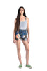 Brittania High Waist Patchwork Denim Shorts
