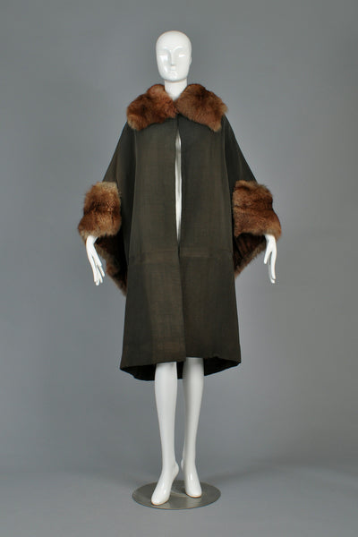 Art Deco Cape-Backed Faille Coat w/Sable Fur Trim