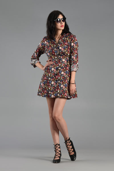 1990s Ditzy Floral Cotton Mini Dress