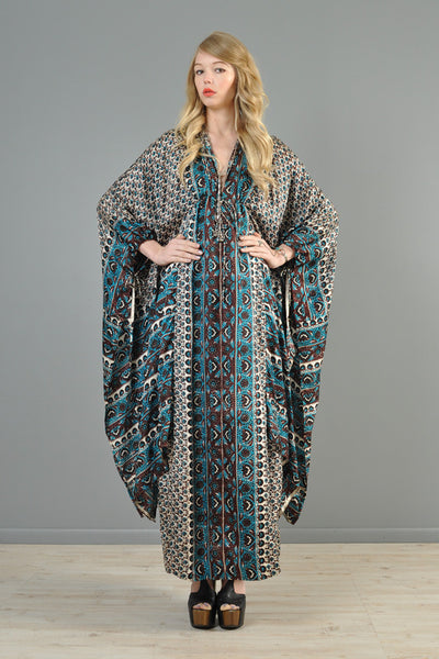 Saks 5th Ave 1970s Bohemian Silk Kimono Dress
