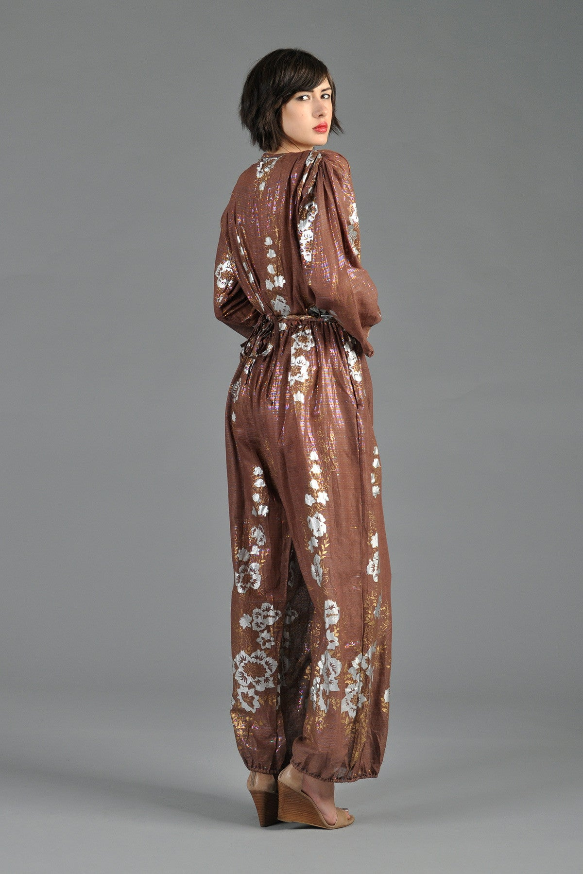 70s Deadstock Hand Painted Metallic Indian Jumpsuit Bustown Modern