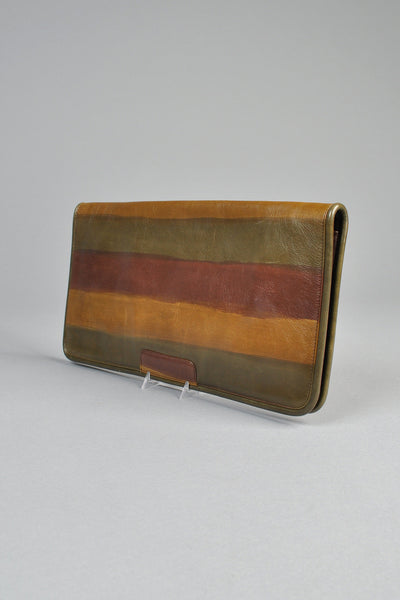 Hand Painted Striped Leather Clutch