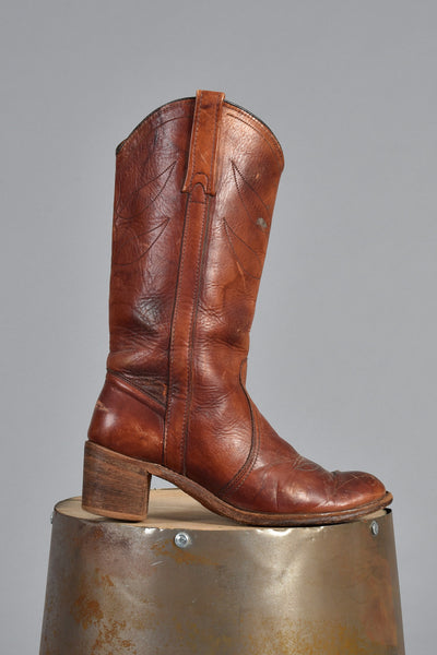 Brown Leaf Stitched Leather Western Work Boots 8.5