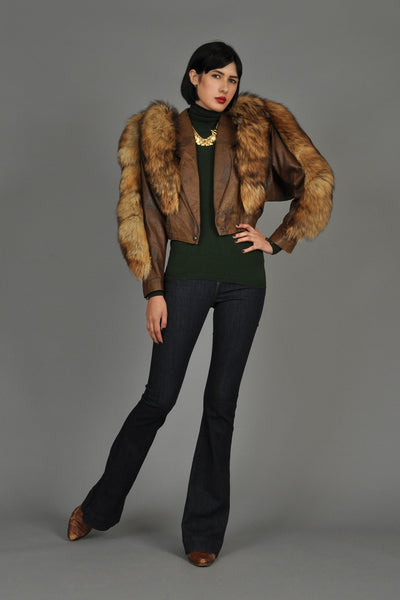 Cropped Cocoa Leather Jacket w/Fox Fur Trim