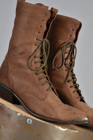 Acme Mocha Colored Leather Lace Up Boots 8.5
