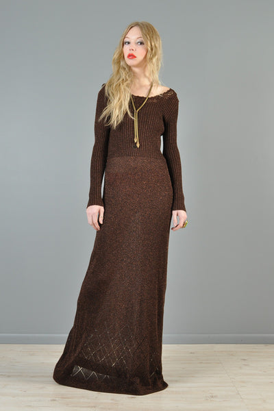 Chocolate Brown 1970s Metallic Knit Maxi Gown