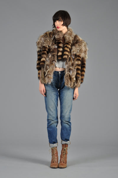 70s Raccoon Tail Shaggy Fringe Vest