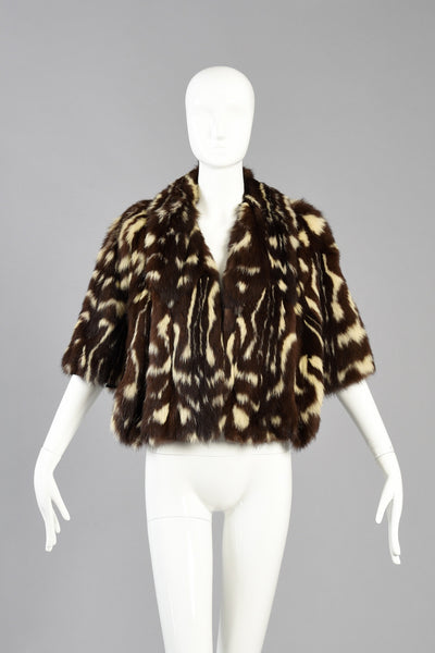 Stellar 1940s Spotted Skunk/Civet Scalloped Fur Cape