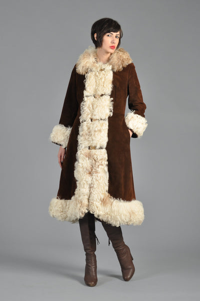 70s Suede + Shearling Princess Coat