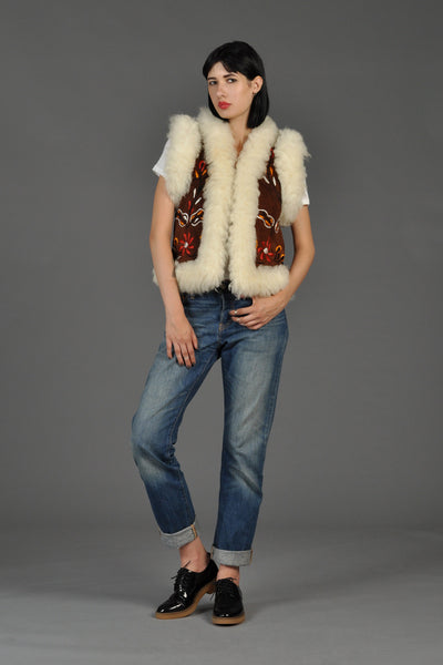1960s Embroidered Shearling Fur Gilet