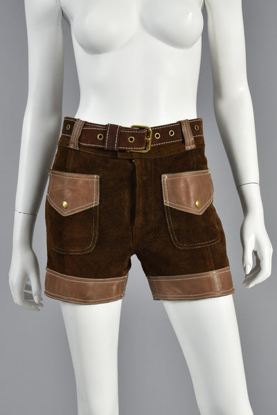 Almost Famous 60s Leather + Suede High Waisted Shorts