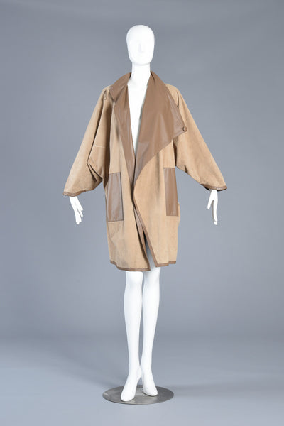 1980s Reversible Suede + Leather Avant Garde Draped Cape Coat