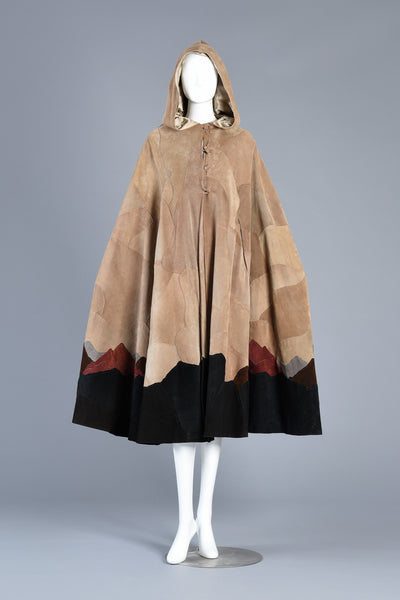1970s Patchwork Leather Mountain Cape by M. Tonne