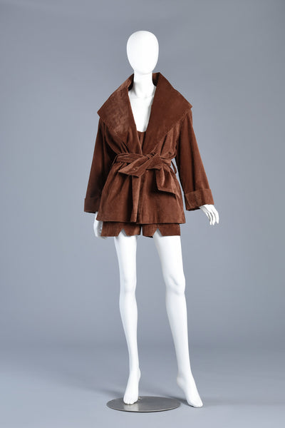 Chocolate Velveteen 2pc Romper + Shawl Collar Jacket Ensemble
