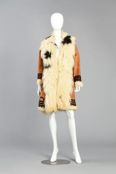 Incredible 1970s Embroidered Shearling + Suede Coat
