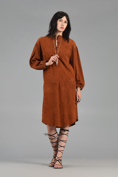 Cognac Suede Midi Dress with Puffed Sleeves