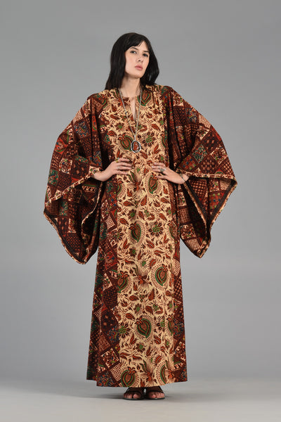 1970s Ethnic Caftan with Massive Kimono Sleeves
