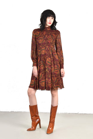 Les Feuilles Autumnal Floral Silk Day Dress