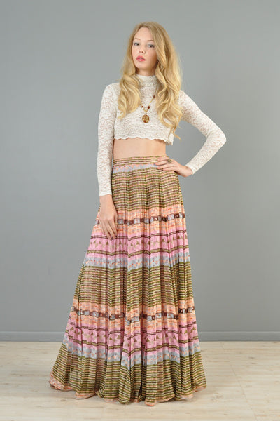 1970s Ethnic Striped Lace Maxi Skirt