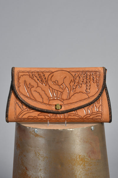 1950s Tooled Leather Clutch w/Deer Motif
