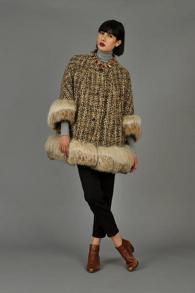 1960s Cropped Tweed Swing Coat w/Lynx Fur Trim