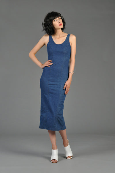 Calvin Klein Denim Bodycon Midi Dress