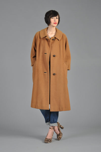 60s Vicuna Cashmere Swing Coat w/Rhinestone Buttons