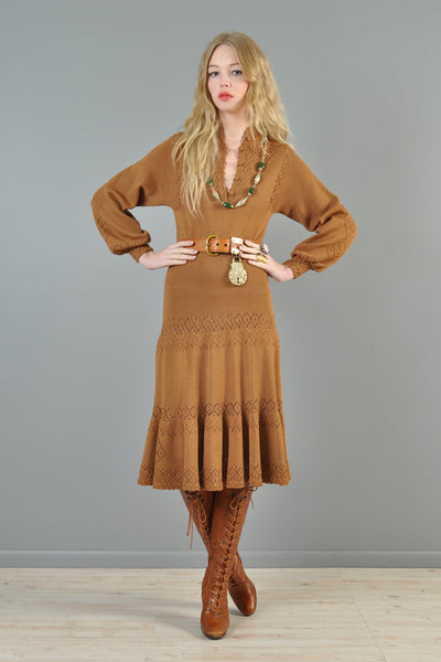 Toffee Colored 1970s Knit Bohemian Dress