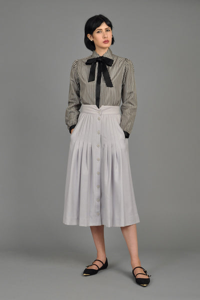Chanel Silk Pinstripe Blouse with Ascot
