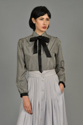 Vintage Chanel Silk Pinstripe Blouse with Ascot