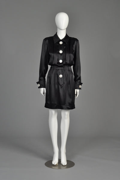 1980s Chanel Giant Button Pleated Silk Dress
