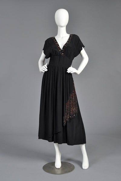 1970s Karl Lagerfeld for Chloe Deco Beaded Dress