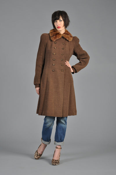 1930s Russian Squirrel Pin-Tuck Sleeve Coat