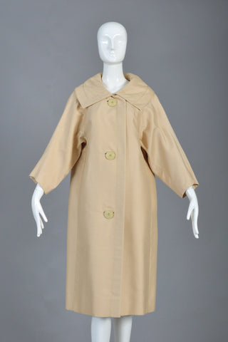 1950s Christian Dior Fin Back Silk Coat