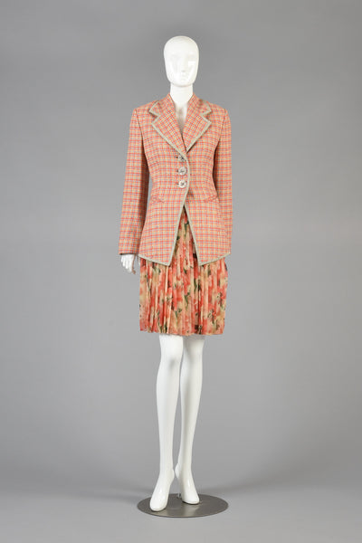 1990s Christian Dior Houndstooth Plaid Jacket