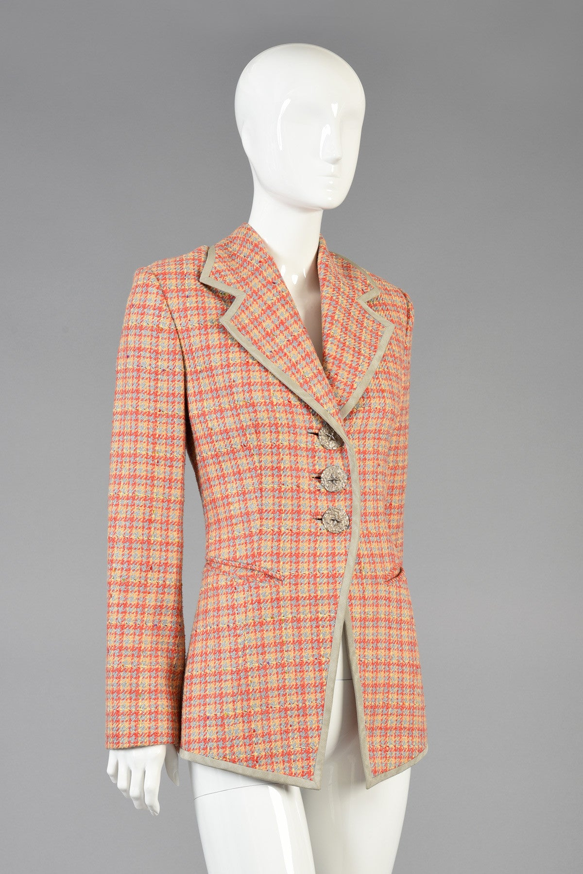 1990s Christian Dior Houndstooth Plaid Jacket Bustown Modern