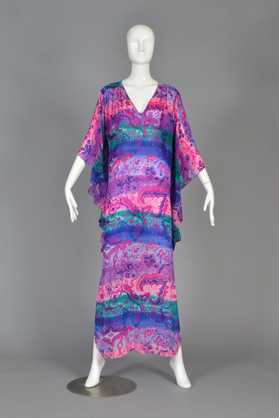 Christian Dior 1980s Silk Floral Caftan Maxi Dress