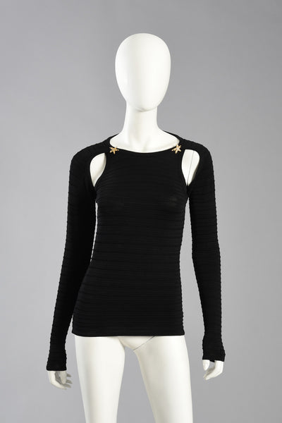 Christian Lacroix 90s Open Shoulder Top w/Keyhole Back