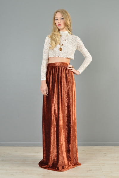 Nutmeg Crushed Velvet 1970s Maxi Skirt