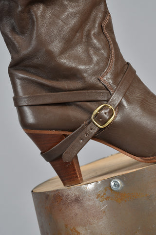 Cocoa Leather Boots w/Crossed Ankle Strap 8.5